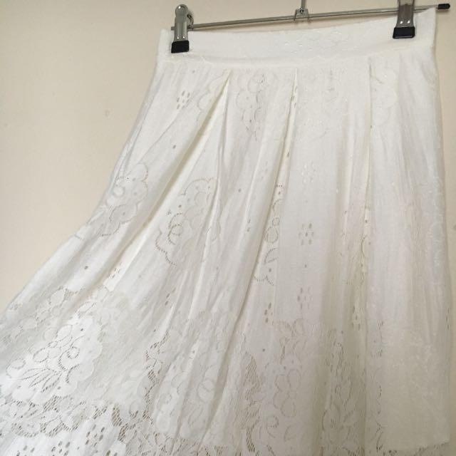 White Midi Lace Skirt 6 XS
