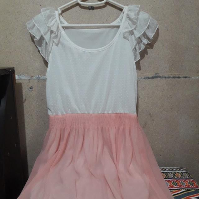 White&Peach Maxi Dress