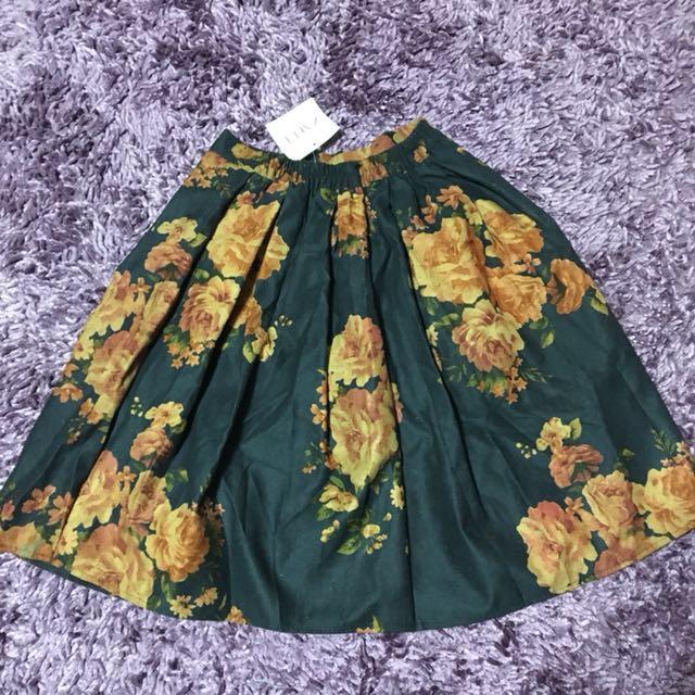 Zaful Navy Floral Skirt