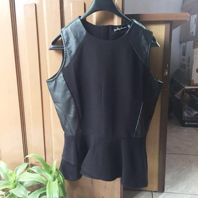 ZALORA leather peplum top
