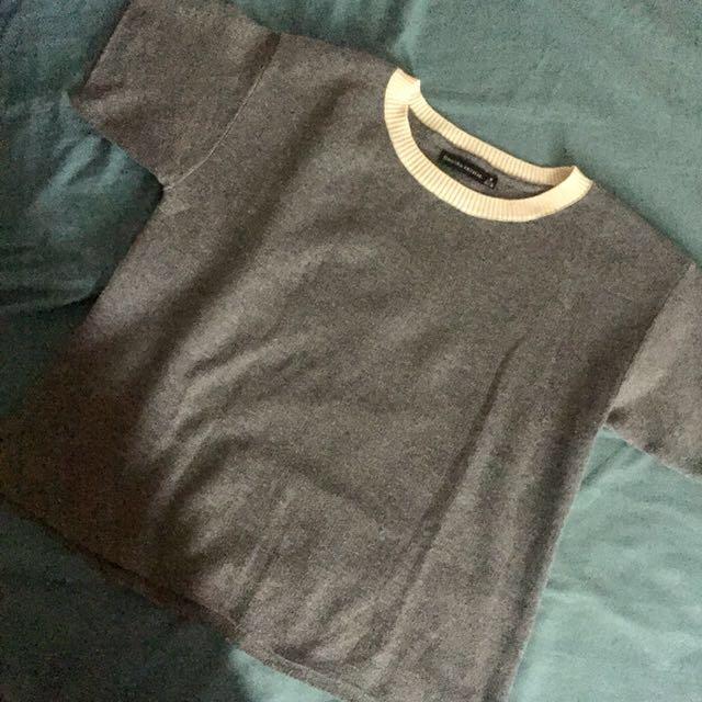 ZARA白領灰色針織短袖上衣(保留中至11/30