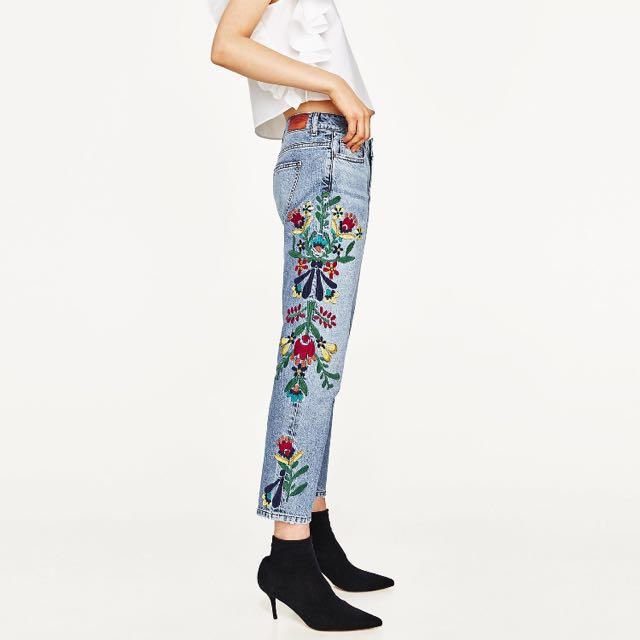 Zara花卉刺繡牛仔褲