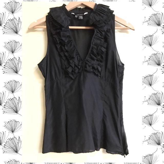 Zara Basic Ruffled Neckline Sleeveless Top