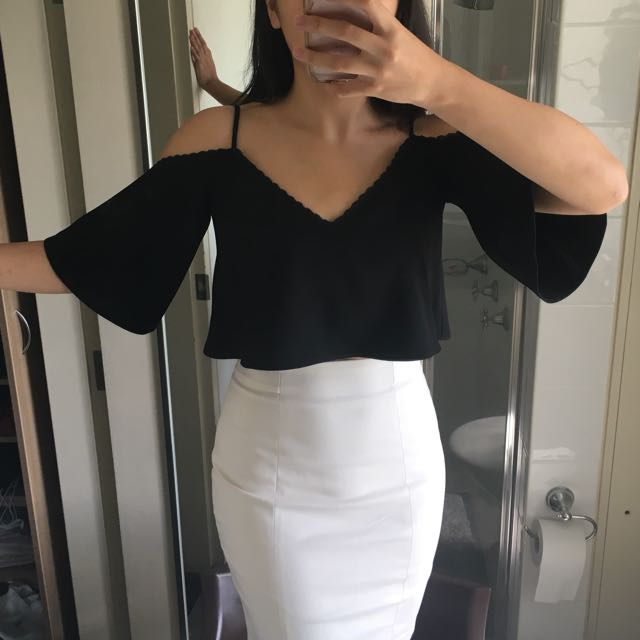 Zara Black Off The Shoulder Top