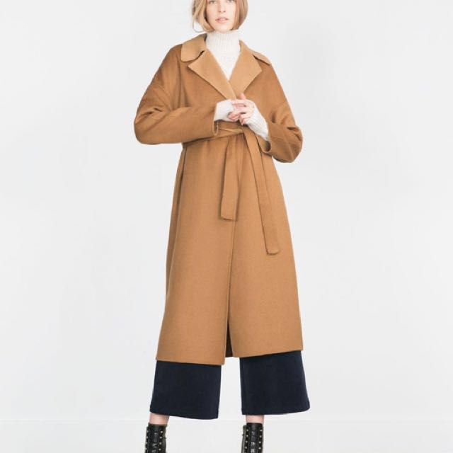 b2eec95e Zara handmade Wool wrap coat camel, Women's Fashion, Clothes, Outerwear on  Carousell