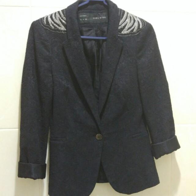 Zara Textured Blazer Black