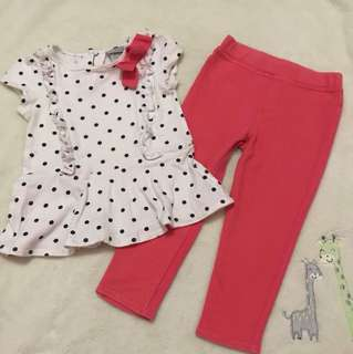 Maggie&Zoe blouse and leggings terno 2T