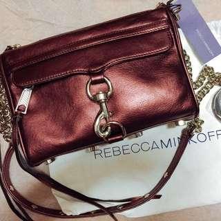 限量Rebecca Minkoff Mini MAC Crossbody Metallic 金屬酒紅leather clutch Bag 側咩斜咩袋