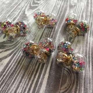 玻璃球系列耳環(1副)