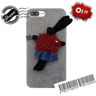 *:.ღ 韓風可愛風~創意毛氈布藝兔子公仔 蘋果iPhone8 plus、iPhone7手機軟殼 ღ.:*