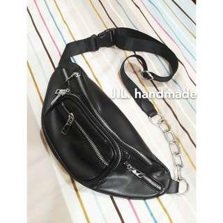 💋皮質鏈條腰包💋小包包 側背包 胸包 單肩斜掛包 女包