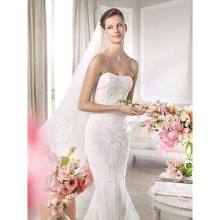 Spanish Designer Pronovias White One Jacobela Wedding Gown