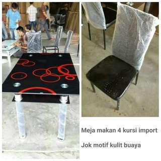 Meja Makan Import Kaca 4 Kursi -  Harga Murah