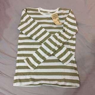 MUJI striped cotton long sleeve top - XS