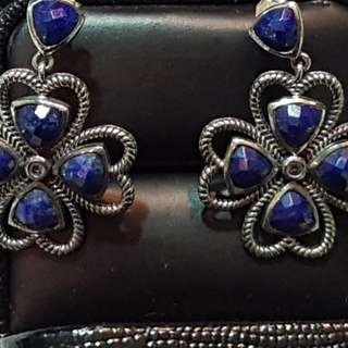 Sterling silver lapis flower earing