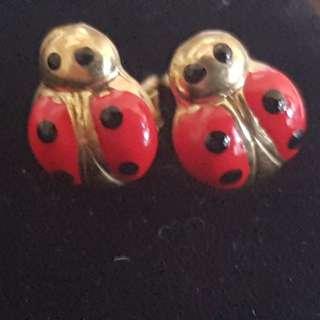 Sterling silver ladybug earrings