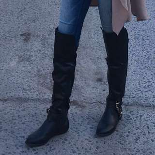 Black Thigh High Boots (Leather)