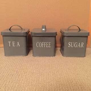 Tea, coffee and sugar tins
