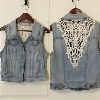 Anthropologie vintage lace jean vest