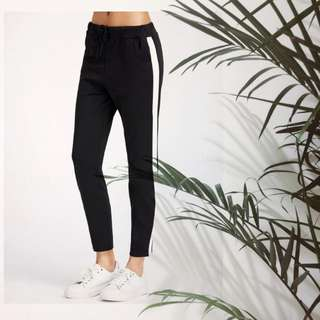 Contrast Side Panel Drawstring Sweatpants