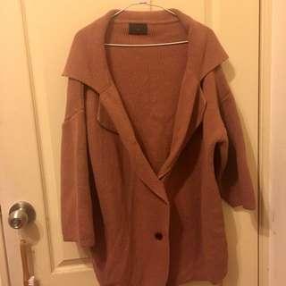 🚚 正韓繭型粉桔色針織厚外套
