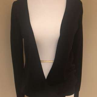 Club Monaco draped open front black sweater. 100% wool Sz S