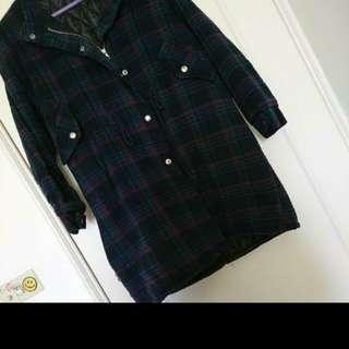 綠格舖棉厚外套