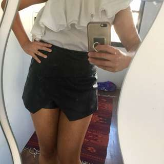 Topshop leather skort shorts