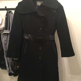 Women's Mackage Black Wool Belted Jacket