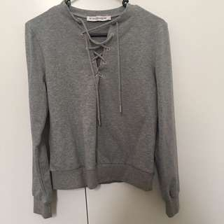 Grey lace up jumper