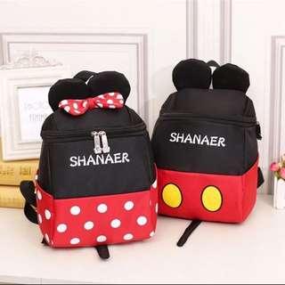 🚚 迪士尼系列米奇米妮兒童雙肩防水後背包 走失繩後背包 上學書包 休閒包 登記包 包包
