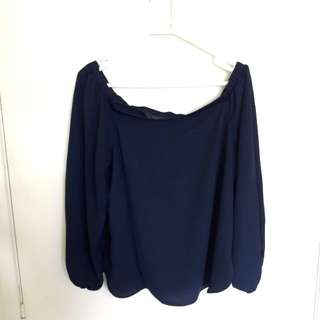 Glassons navy off the shoulder top