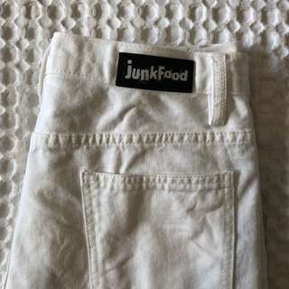 White junk food ripped denim shorts