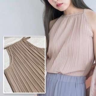 Beige Pleated Halter Top From Shoplooh