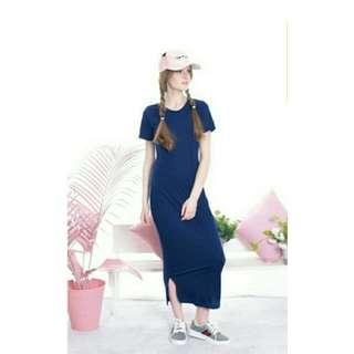 Elsa Plain Maxy Dress - Navy