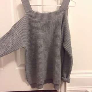 Grey cold shoulder knit sweater