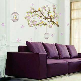 Purple Sakura Flower Wall Sticker Decal