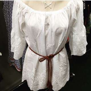 Boho Off the Shoulder Cotton Top New with Tags 4 Available sizes M & L