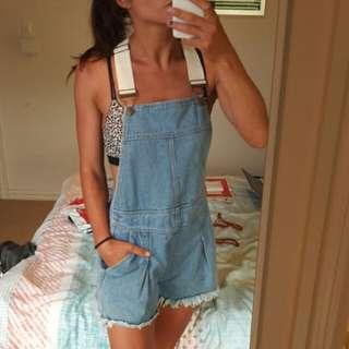 MINKPINK MINK PINK Denim MPD blue short overalls dungarees sz S