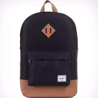 HERSCHEL SUPPLY CO. Heritage Backpack Mid Volume in Black/Tan | RRP $100