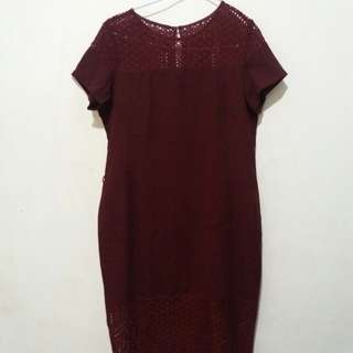 Dress merah maroon executive