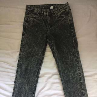H&M acid wash jeans
