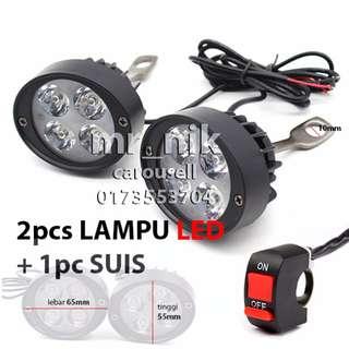 Sepasang Lampu LED (12W+12W)  Motor Spotlight  + Suis