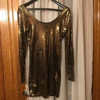 Dynamite Sequin Gold Dress Size L