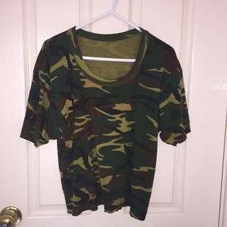 Vintage Camouflage T crop