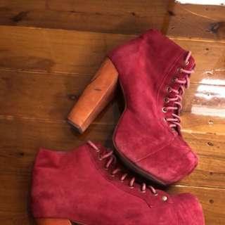 Red suede Jeffrey Campbell lita heels