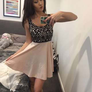 CUTE PINK AND BLACK DAY DRESS