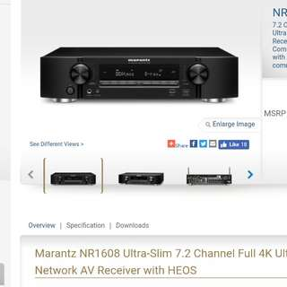 Marantz NR1608 7.2 Channel Full 4K Ultra HD Network AV Receiver with HEOS Coming soon - control with Alexa voice commands