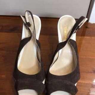 Brown and white smeraldo heels