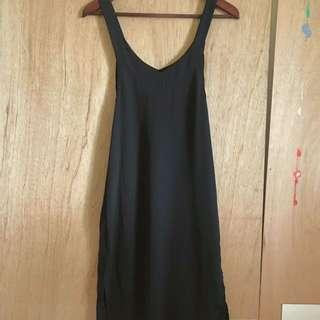 寬帶黑色雪紡長版側邊開衩綁帶長裙前短後長洋裝